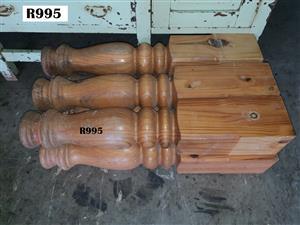 6 x Bulky Solid Pine Heavy Duty Table Legs