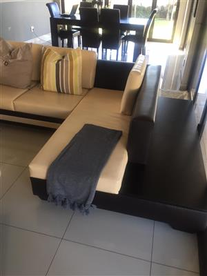 Glossy leather couch set for sale R9900