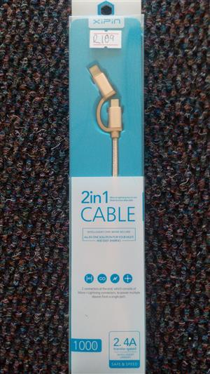 Xipin 2 in 1 Iphone and Android Cable