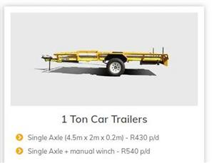 TRAILERS AND BAKKIES TO RENT