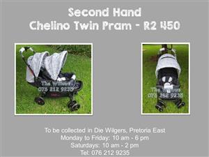 Second Hand Chelino Twin Tandem Pram - White