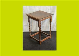 Edwardian Oak Barley Twist Side Table (SKU 331)