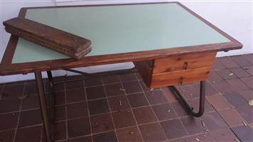 Modern, retro two-drawer desk