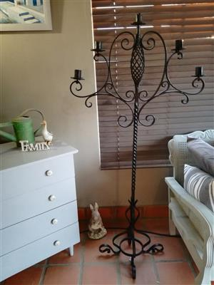 Wrought iron standing candelabra