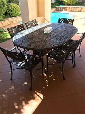 6 seater cast iron patio set