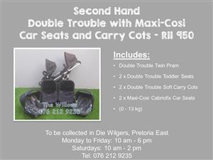 Second Hand Double Trouble with Maxi-Cosi Car Seats and Carry Cots