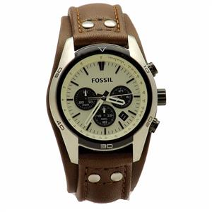 Fossil Men's Coachman CH2890 Brown Leather Cuff Chronograph Watch