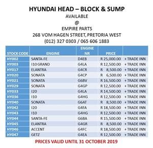 HYUNDAI HEAD – BLOCK & SUMP - OCTOBER SPECIAL