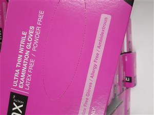Examination Gloves Pink Nitrile Gloves 100 in a box power free, Pink Nitrile Gloves 100