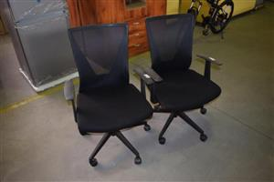 Black office chairs with wheels