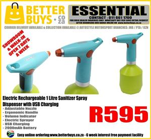 Electric Rechargeable 1 Litre Sanitizer Spray Dispenser with USB Charging R595  Adjustable Nozzle