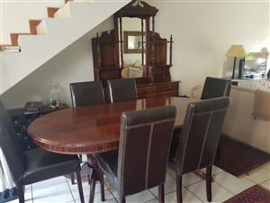 Table with 6 x chairs (needs re upholstery ) and sideboard/buffet
