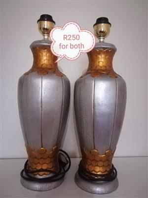 Silver and copper lamps without globes