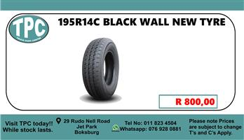 195R14C Black Wall New Tyre - For Sale at TPC
