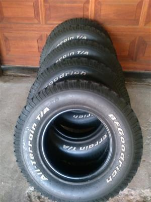Set of 7.08mm tread 235/85/16 BF Goodrich Tyres fits Defender R1200 each R5950 for the set of 5 tyres