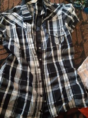Black and white button summer shirt