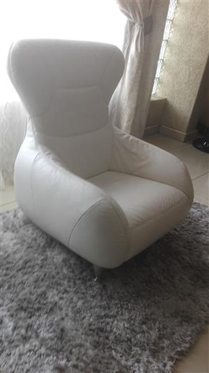 Genuine Full Leather White Lounge Chairs