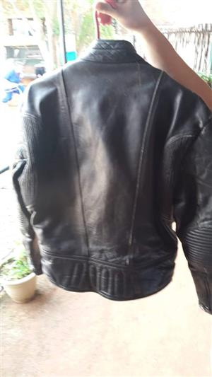 Black leather biker jacket for sale