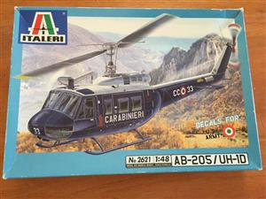 Helicopter Model Kit by Italeri - Carabinieri AB-205/UH-1D - 1:48 Scale with U.S. Army Decals