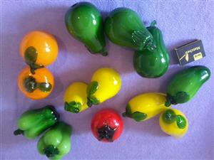 13 piece Large Decorator's Glass Fruit/Veg New. 12cm x 6cm