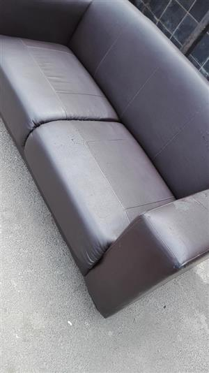 2 Seater grey leather couch