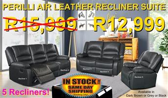 PERILLI 6 Piece, 5 Recliner Suite In Air-Leather - R12,999