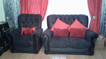 Dark grey suede lounge suite