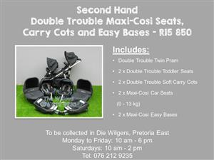 Second Hand Double Trouble Maxi-Cosi Seats, Carry Cots and Easy Bases