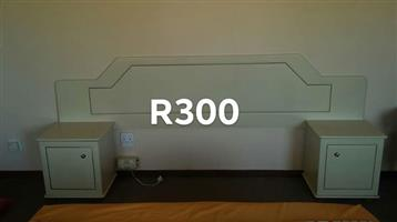 White double bed headboard with side cabinets
