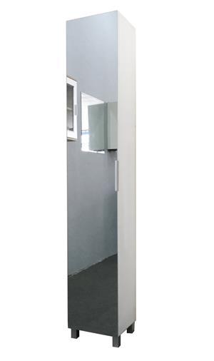 Hazlo Floor Standing Mirrored Bathroom Cabinet with 6 Shelves - White