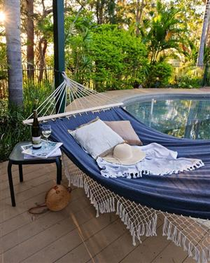 Oztrail Coco Deluxe Hammock - 100% unbleached cotton with decorative crocheted edging -Courier avail