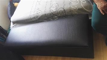 stunning storage ottoman plain black leather R799