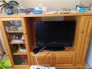Large TV stand solid oak.