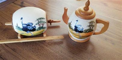 Wooden teapot and barrel for sale
