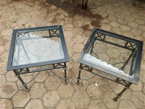 2 Black glass top side tables