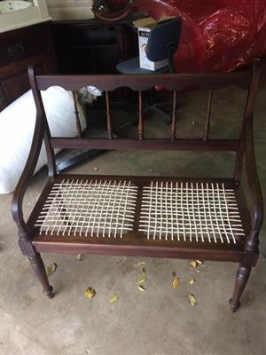 Beautiful 2 seater riempie chair.