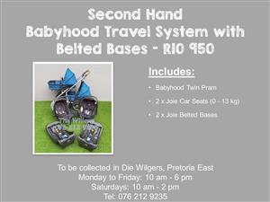 Second Hand Babyhood Travel System with Belted Bases