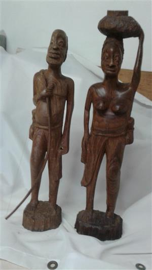 BUSHMEN PAINTINGS AND FIGURINES SET FOR SALE !!