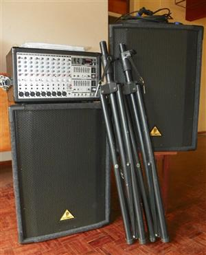 PA system Behringer, nine channel and line-in, Europower PMX 2000 500W, stereo equaliser etc
