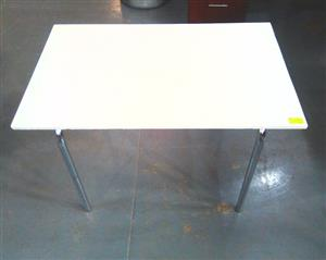 Grey steel frame desk
