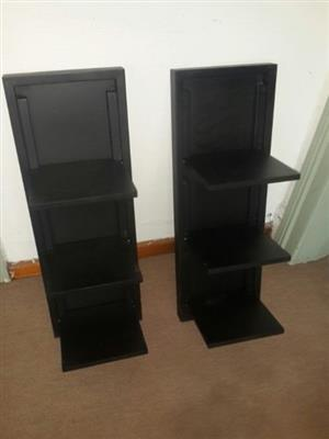 Black foldout shelving units  x2