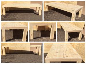 Patio table Chunky Farmhouse series 3000 with extra thick pillar legs - Raw