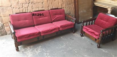 3 Seater Imbuia Couch and Chair