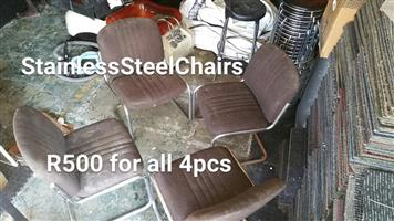 Stainless steel brown top chairs