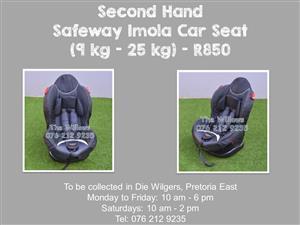 Second Hand Safeway Voyager Car Seat (9 kg - 25 kg) - Black and Green