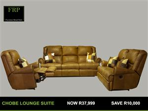 Chobe leather suite with 5 action recliner for sale