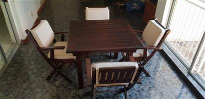 Rhodesian Teak 4 Seater Table with Chairs