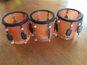Set of 3 Oriental votive candle holders