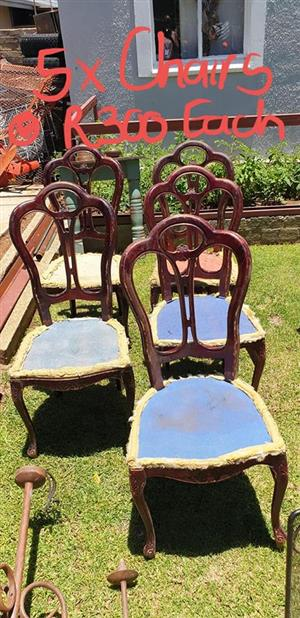 5 Vintage wooden chairs for sale