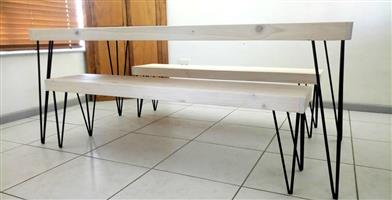Wooden and steel table and bench set for sale Western cape